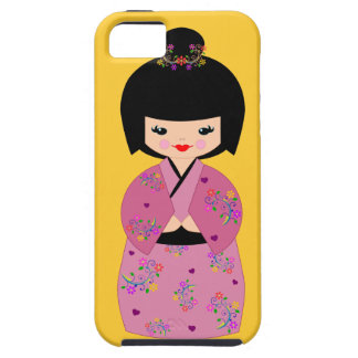 Kokeshi Doll in a  Floral Kimono Cell Phone Cover