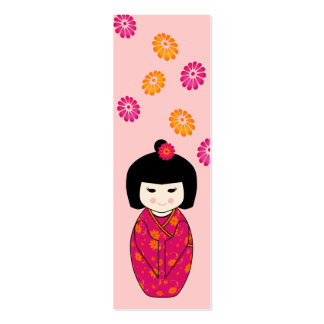 Kokeshi Doll Mini Bookmark in Pink and Orange Business Card