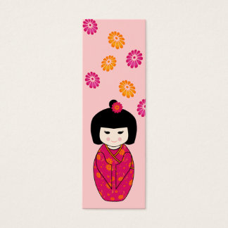 Kokeshi Doll Mini Bookmark in Pink and Orange Mini Business Card