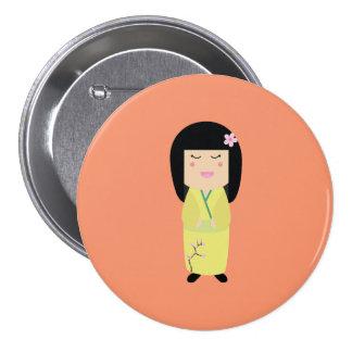 kokeshi doll pinback button