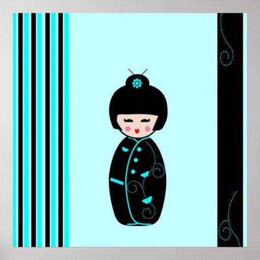 Kokeshi doll poster, print, gift idea