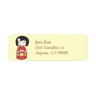 Kokeshi Doll Return Address Label