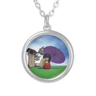 Kokeshi Doll Silver Plated Necklace