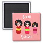 Kokeshi Doll Sisters Cartoon 2 Inch Square Magnet