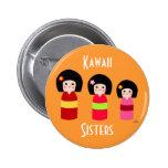 Kokeshi Doll Sisters Cartoon Button