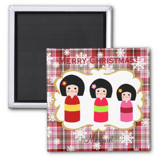 Kokeshi Doll Sisters Cartoon Christmas Magnet
