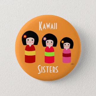 Kokeshi Doll Sisters Cartoon Pinback Button
