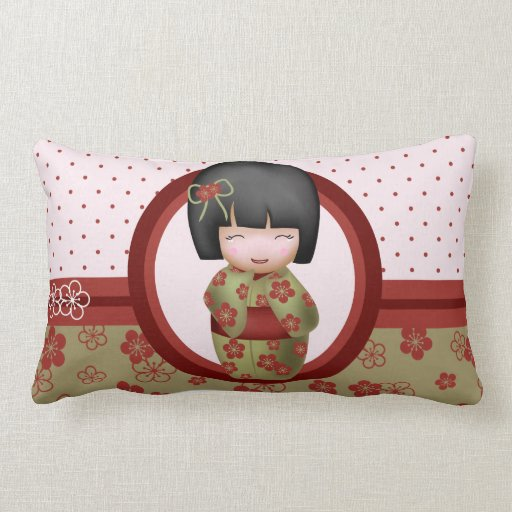 How To Make A Doll Decorative Pillow : Kokeshi doll throw pillow Zazzle
