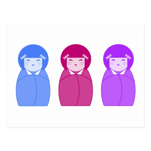 Kokeshi Doll Trio Postcard
