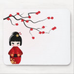 Kokeshi doll under sakura branch mouse pad