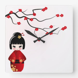 Kokeshi doll under sakura branch wall clock