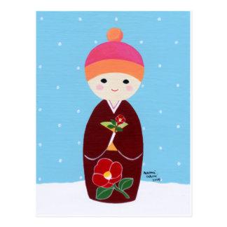Kokeshi Doll with Camellia Postcard