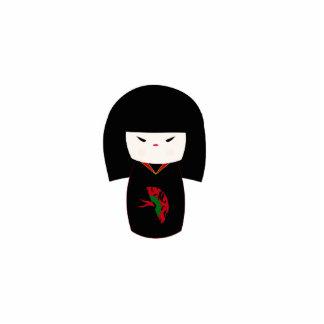 Kokeshi Doll with Fan and Blacck Kimono Sculpture