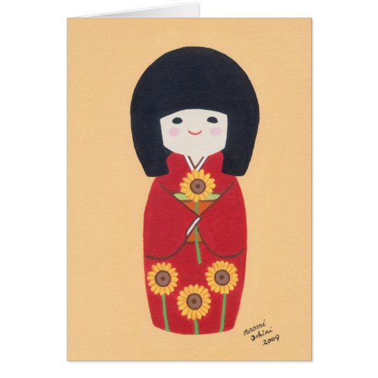 Kokeshi Doll with Sunflower Card