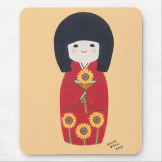 Kokeshi Doll with Sunflower Mouse Pad