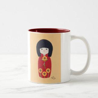 Kokeshi Doll with Sunflower Two-Tone Coffee Mug