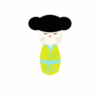 Kokeshi Doll With Yellow Kimono Acrylic Cut Out