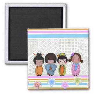 kokeshi dolls 2 inch square magnet