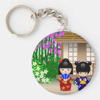 Kokeshi Dolls and Teahouse Basic Round Button Keychain