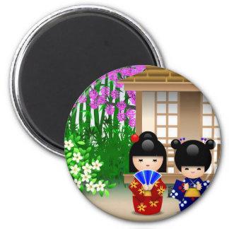 Kokeshi Dolls and Teahouse Refrigerator Magnet