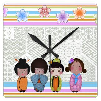kokeshi dolls square wall clock