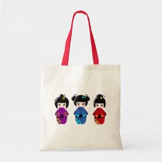 Kokeshi dolls tote bag