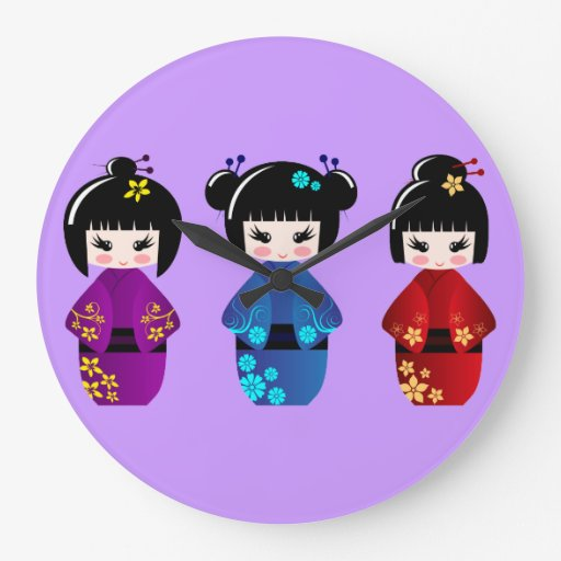 Kokeshi dolls wall clock