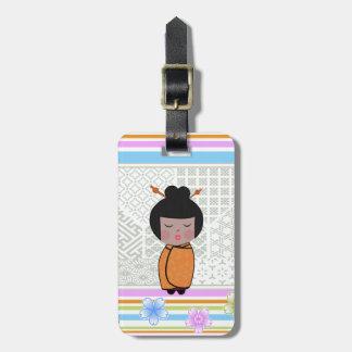 kokeshi dragonflies luggage tag