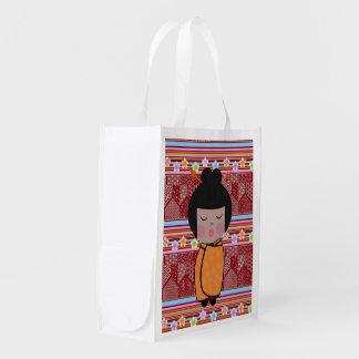 kokeshi dragonflies reusable grocery bag