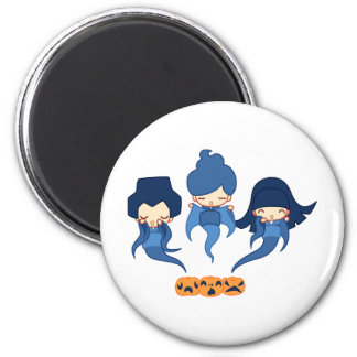 Kokeshi ghosts 2 inch round magnet