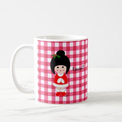 Kokeshi Girl Christmas Coffee Mugs