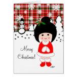 Kokeshi Girl Christmas Greeting Card
