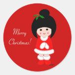 Kokeshi Girl Christmas in Red Round Sticker