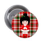 Kokeshi Girl Christmas Polka Dot Pin