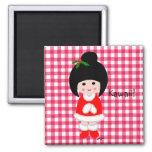 Kokeshi Girl Christmas Refrigerator Magnet