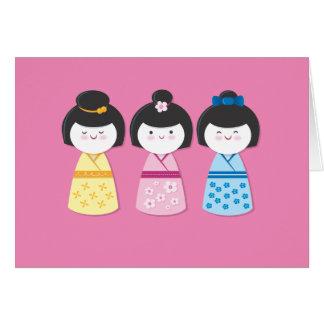 Kokeshi Girls Stationery Note Card