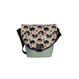 Kokeshi Girls Vector Pattern Messenger Bag