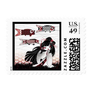 Kokeshi Koinobori Postage Stamps