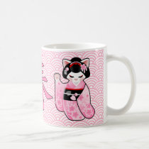 Kokeshi Maneki Neko Japanese Lucky Cat Maiko Coffee Mug
