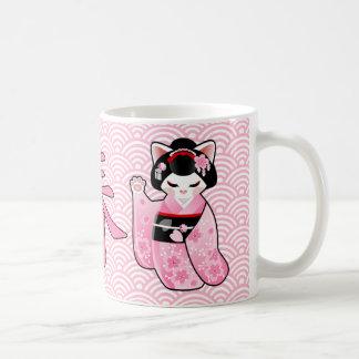 Kokeshi Maneki Neko Japanese Lucky Cat Maiko Coffee Mug