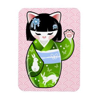 Kokeshi Maneki Neko Japanese Lucky Cat Summer Magnet