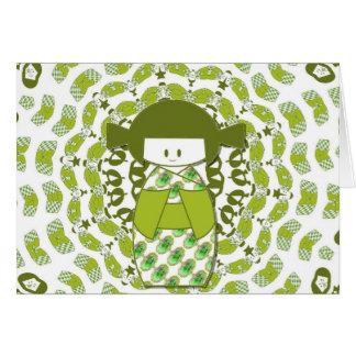 Kokeshi, muñecas japonesas, verdes, tarjeta de felicitación