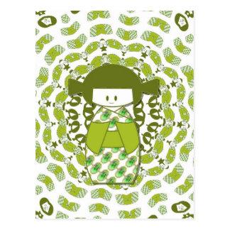 Kokeshi, muñecas japonesas, verdes, postal