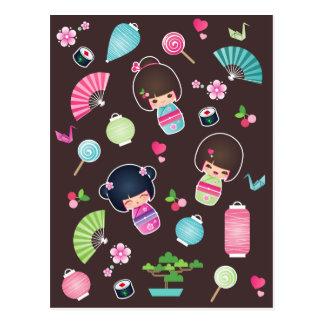Kokeshi Pattern Postcard