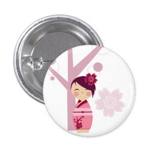 Kokeshi Sakura and Cherry Tree Pin