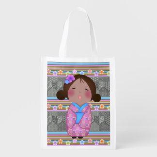 kokeshi sakura reusable grocery bag