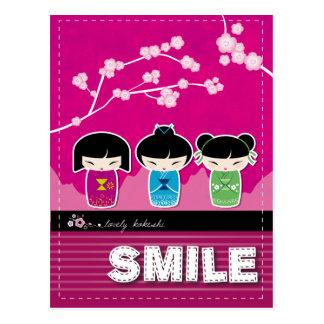 """Kokeshi """"SMILE"""" postcard"""