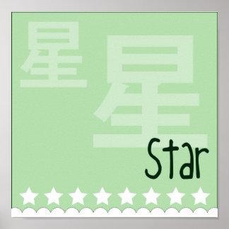 Kokeshi Star Kimono Design Poster
