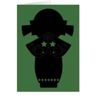 Kokeshi Star Silhouette Note Card
