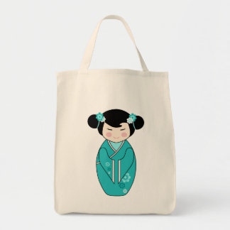 Kokeshi Style Doll Illustration in Blues Bags